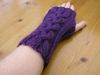 Carolyn's purple wristwarmers