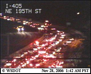 I-405 in the ice and snow at 1:42am!