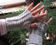 gray knitted wristwarmers