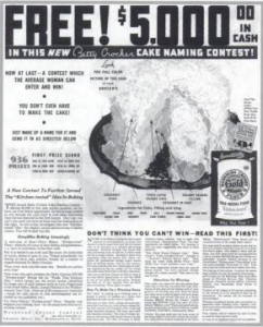 "The cake naming contest ad featuring the cake eventually called ""Gold-N-Sno."""