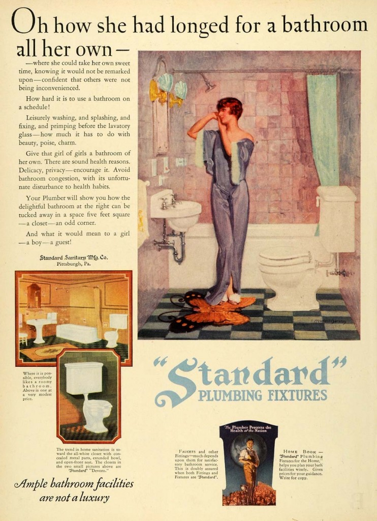 """Oh how she had longed for a bathroom all her own"" -- the freedom of not sharing a bathroom, by installing one in a five foot square space.  ""Ample bathroom facilities are not a luxury."" Though the room is small, it has rose tiles and a checked linoleum floor, with elaborate light fixtures."