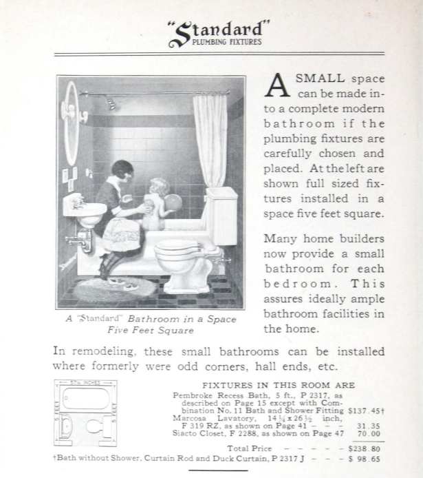"Prices and information about the ""Mother and Child"" five foot square bathroom. Slightly different from the color version on the catalog's cover; this one shows the tilework with a dark stripe near the top of the wall."