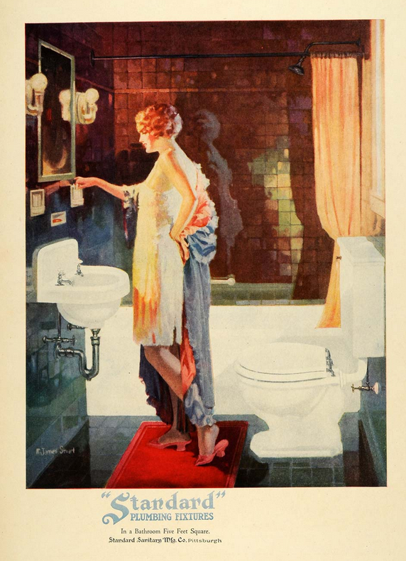 Another early 1920s ad for a bathroom that may be tiny, but it looks elegant with its iridescent dark tile work and red carpet.