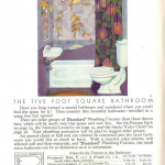 "Details about the Five Foot Square bathroom, with prices and suggestions to fit one into ""an unused closet or hall end."" Don't forget -- ""Colored shower curtains are additional in price."""
