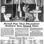 1919 Standard ad, with a maid fixing milady's hair while she sits in a chair in a reasonably spacious bathroom.