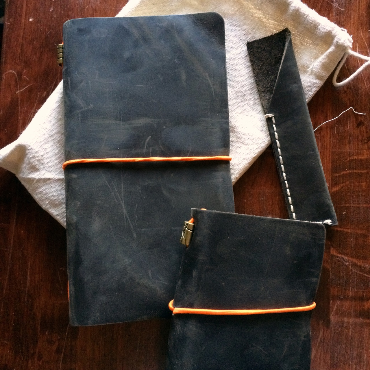 One Traveler's size journal, one Passport journal, one pen case.