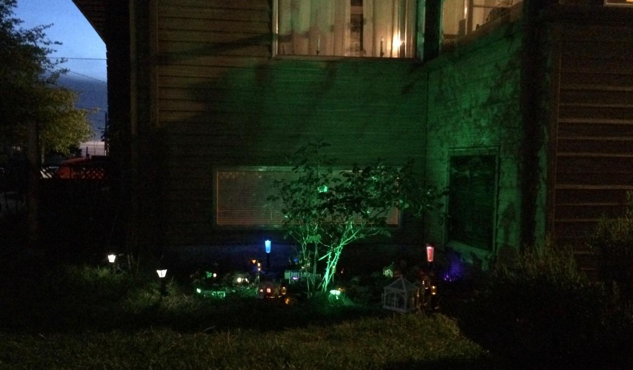 The village lights up at night.