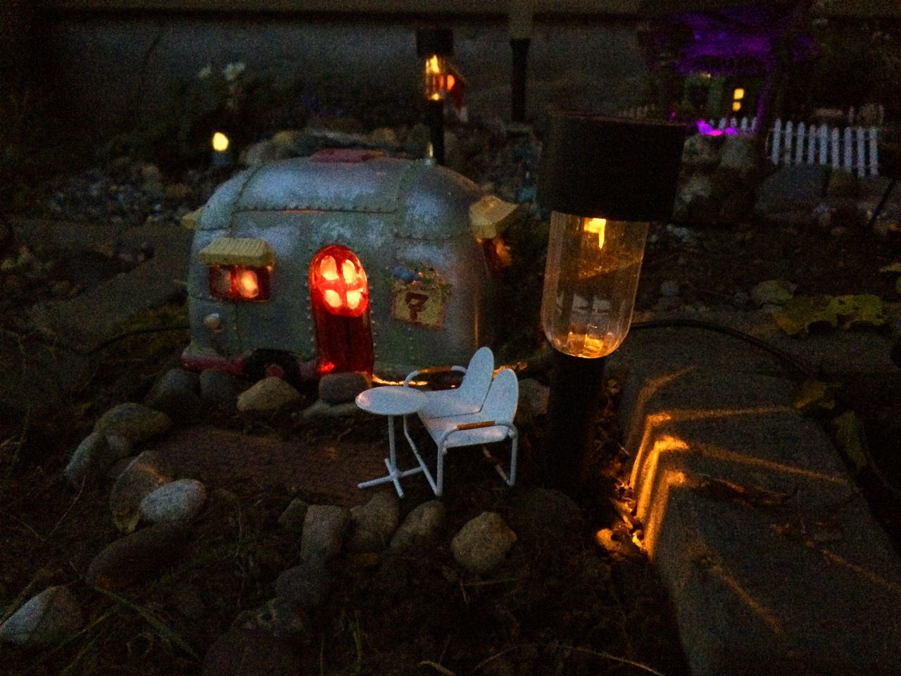 There is an Airstream trailer in the village. Like the other homes, it lights up at night when someone is home.
